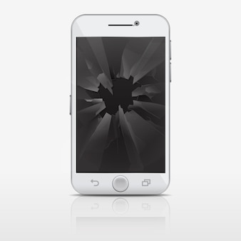 Schermo di vetro rotto del telefono, illustrazione dello smartphone. cellulare con vetri rotti