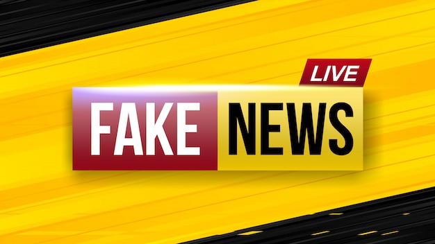 Schermo falso della televisione in diretta di notizie false.