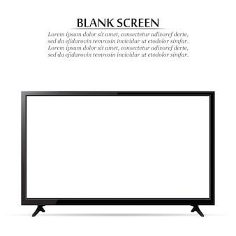 Schermo nero. tv realistica su uno sfondo bianco
