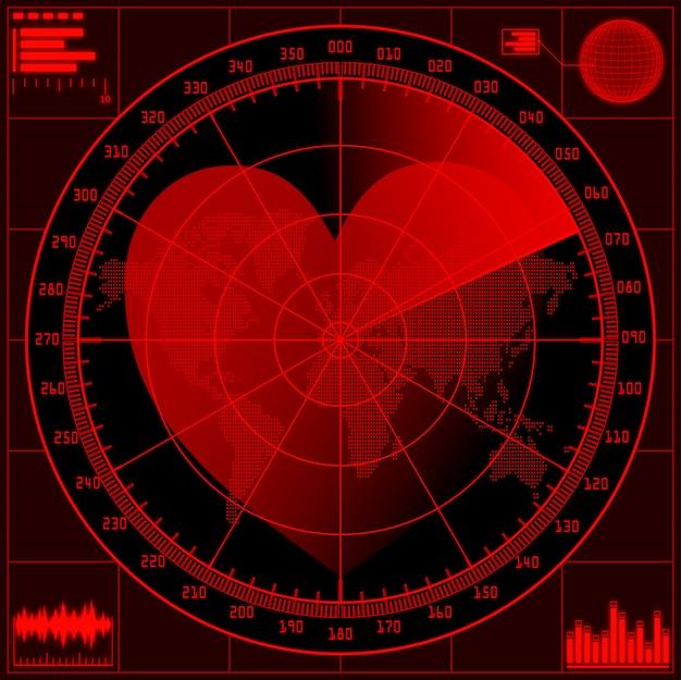 Schermo radar con cuore rosso.