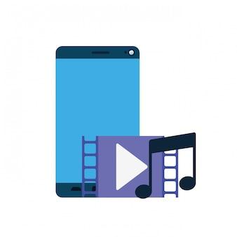 Schermo smartphone con icona di riproduzione musicale isolato