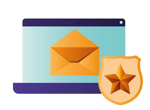 Schermo tablet e scudo con icone stella isolato