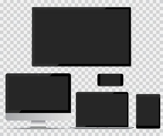Schermo tv, monitor del computer, laptop, tablet e smartphone con schermo vuoto