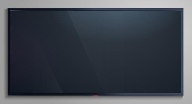 Schermo tv realistico. display vuoto moderno lcd, mockup dello schermo del monitor televisivo, illustrazione del pannello lcd. schermo televisivo realistico, televisore a led vuoto