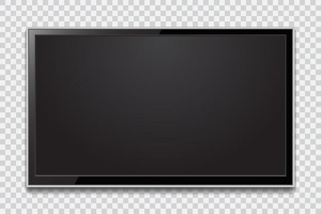 Schermo tv realistico. moderno pannello lcd elegante, tipo led. mockup di monitor di computer di grandi dimensioni