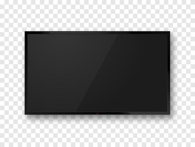 Schermo tv realistico nero isolato. mockup pannello lcd. televisione in bianco.