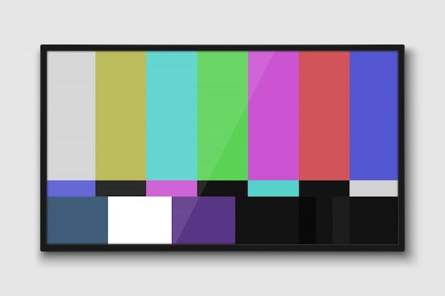 Schermo tv realistico. pannello lcd moderno con test senza segnale