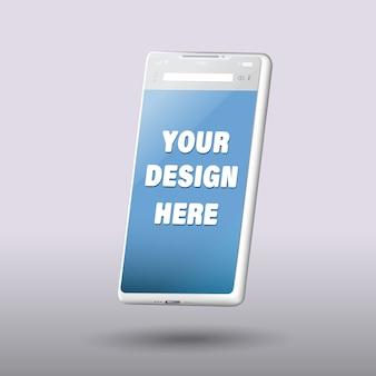 Schermo vuoto dello smartphone, modello del telefono, modello per l'interfaccia di progettazione di infographics o di presentazione