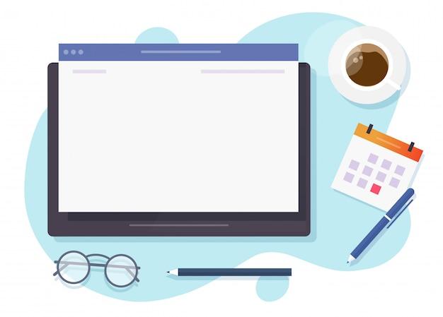 Schermo vuoto in bianco della finestra del browser web sul computer digitale della compressa per il testo dello spazio della copia sulla tavola funzionante dello scrittorio qui sopra