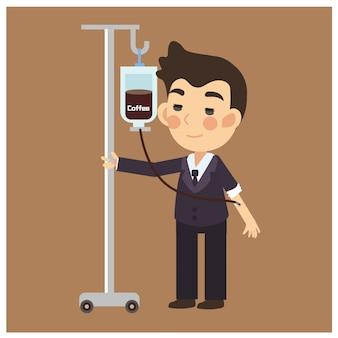 Scherzo / infusione di caffè divertente, uomo d'affari con caffè ma non beve, invece ha iniettato il personaggio dei cartoni animati.