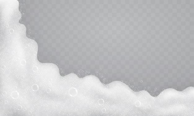 Schiuma con bolle di sapone, vista dall'alto. flusso di sapone e shampoo.