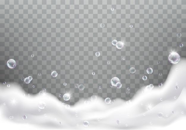 Schiuma da bagno o schiuma di sapone realistica