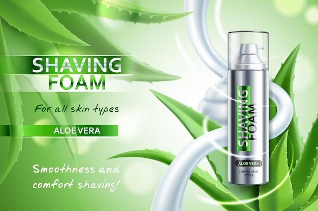 Schiuma da barba realistica con composizione pubblicitaria vera aloe su verde sfocato con illustrazione di foglie di pianta