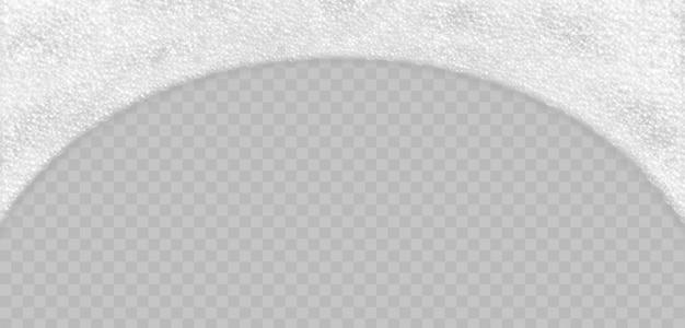 Schiuma del sapone con la vista superiore delle bolle isolata. illustrazione realistica scintillante di vettore della schiuma del bagno e dello sciampo.