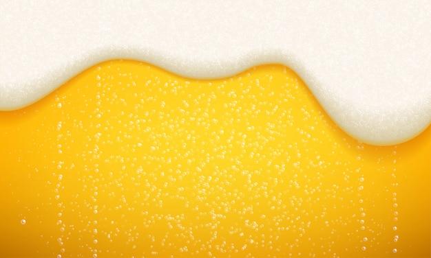 Schiuma di birra e bolle di sfondo. birra artigianale realistica senza soluzione di continuità con schiuma che scorre e bolle