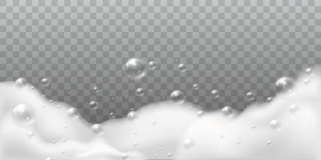 Schiuma di sapone. bolle bianche di bagno o bucato. shampoo sapone pulito gorgogliante lucido. illustrazione isolata detersivo dell'igiene di lavaggio