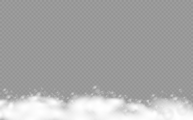 Schiuma di sapone isolata su sfondo trasparente, set di schiuma da bagno con bolle di shampoo e bolle di sapone, gel o shampoo sovrapposte texture di schiuma,