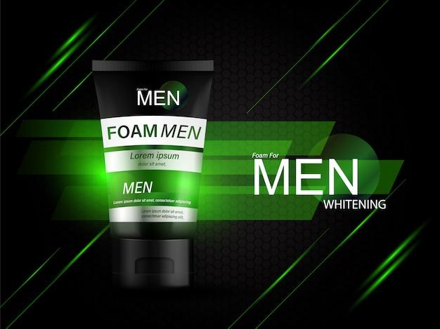 Schiuma per uomini prodotti per bottiglie sfondo siero per cosmetici per la cura della pelle.