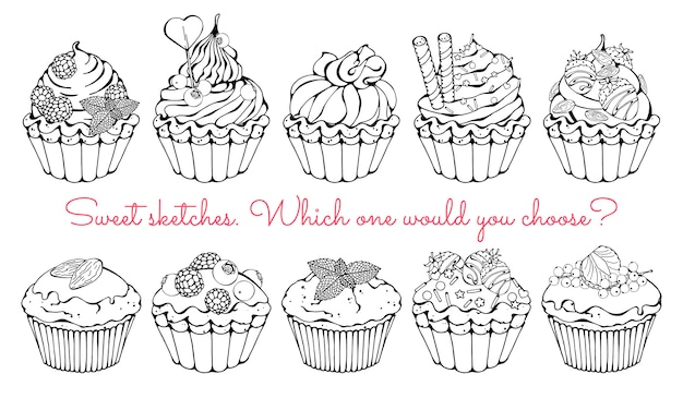 Schizzi di diversi tipi di cestini e cupcakes dolci.