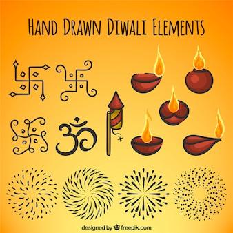 Schizzi di elementi decorativi diwali