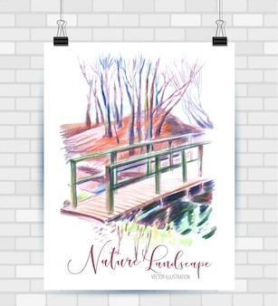 Schizzi di illustrazione in formato vettoriale. poster con bellissima lampada interna.