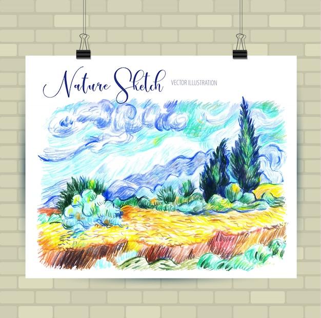 Schizzi di illustrazione in formato vettoriale. poster con bellissimi elementi del paesaggio.