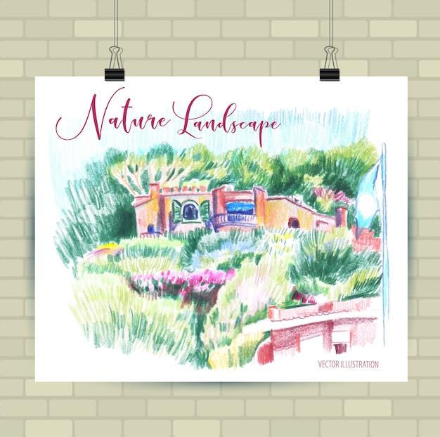 Schizzi di illustrazione in formato vettoriale. poster con bellissimi fiori.