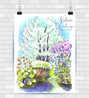 Schizzi di illustrazione in formato vettoriale. poster con bellissimo giardino di fiori.
