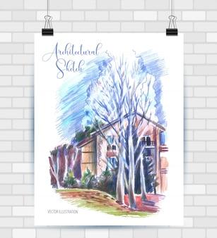 Schizzi di illustrazione in formato vettoriale. poster con bellissimo paesaggio e casa.
