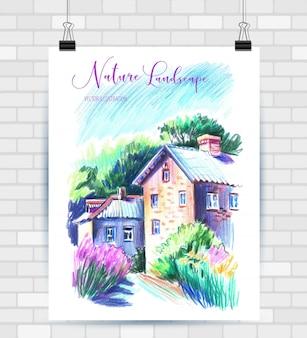 Schizzi di illustrazione in formato vettoriale. poster con bellissimo paesaggio.
