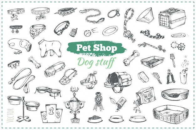 Schizzi di merci nel negozio di animali per cani e cuccioli, illustrazioni disegnate a mano in stile vintage