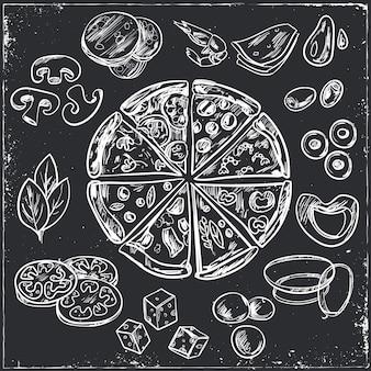 Schizzi di pizza italiana intera e affettata con condimenti diversi