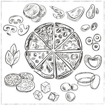 Schizzi di pizza italiana intera e affettata con diversi condimenti, come formaggio, peperoni, salame, funghi, pomodori, olive