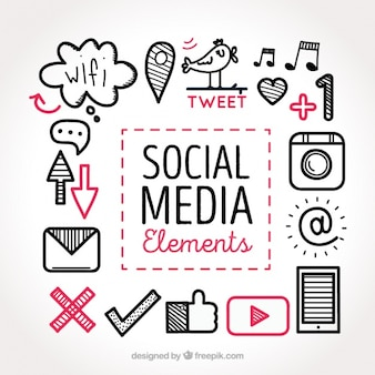 Schizzi di social collezione elementi multimediali