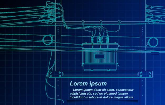 Schizzi di trasformatore e cavo su sfondo blueprint.