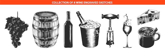 Schizzi disegnati a mano di attrezzature per il vino