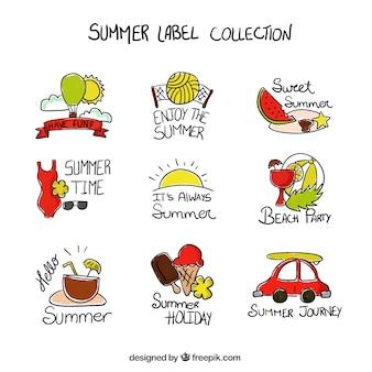 Schizzi elementi estivi etichette