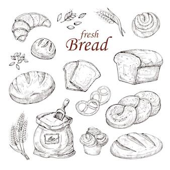 Schizzi il pane, insieme disegnato a mano di vettore dei prodotti della panificazione isolato