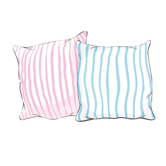 Schizzi l'illustrazione del cuscino, l'arte, il cuscino isolato, il cuscino bianco, cuscino del letto