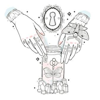 Schizzi l'illustrazione grafica con i simboli disegnati a mano mistici ed occulti. le mani raggiungono le chiavi per aprire il buco della serratura.