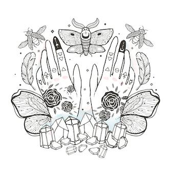 Schizzi l'illustrazione grafica con i simboli disegnati a mano mistici ed occulti.