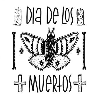 Schizzi la falena e le ossa grafiche dell'illustrazione con i simboli disegnati a mano mistici ed occulti.