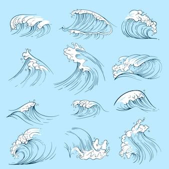 Schizzi le onde dell'oceano. maree di vettore marino disegnato a mano. illustrazione del mare della tempesta dell'acqua dell'onda