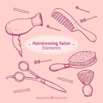 Schizzi parrucchiere oggetti salone impostati