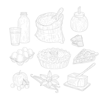 Schizzi realistici disegnati a mano isolati ingredienti di cottura della torta