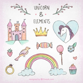 Schizzi unicorno e elementi pacco