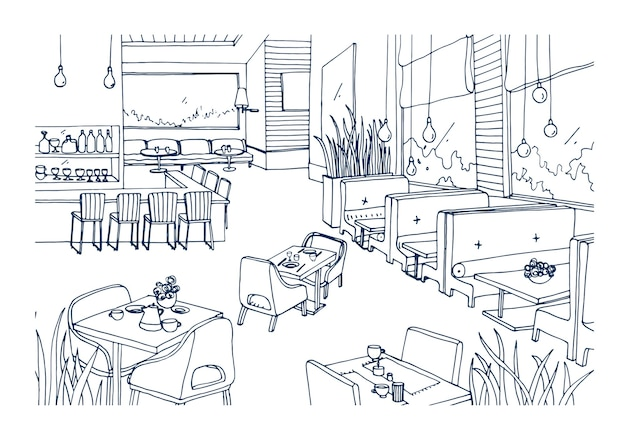 Schizzo a mano libera di interni arredati di fantasia ristorante o bistrot disegnati a mano con linee di contorno. disegno approssimativo della moderna caffetteria o caffetteria. illustrazione vettoriale monocromatica.