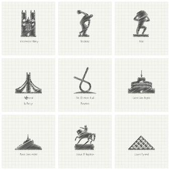 Schizzo a mano libera famosa collezione punto di riferimento mondiale