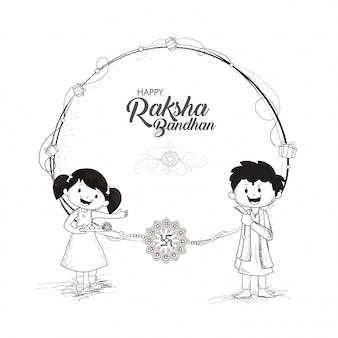 Schizzo bianco e nero dei bambini per raksha bandhan.
