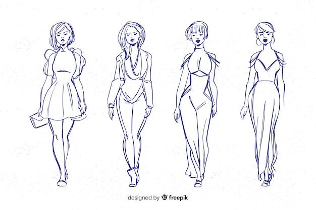 Schizzo collezione di modelli di moda